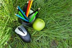 Crayons dans une glace et une souris d'ordinateur Images libres de droits