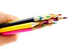 Crayons dans une main sur le fond blanc Image stock