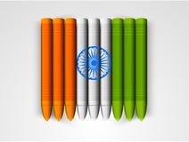 Crayons de cire pour la célébration indienne de jour de République Image libre de droits