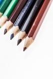 Crayons de couleur au-dessus de blanc Photo libre de droits
