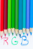 Crayons de couleur avec l'inscription Image stock