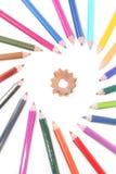 Crayons de couleur avec le coeur Photo libre de droits