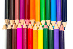 Crayons de couleur d'isolement Photos stock