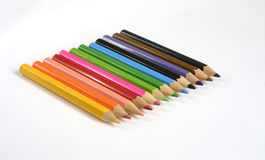 Crayons de couleur d'isolement sur le fond blanc Photo stock