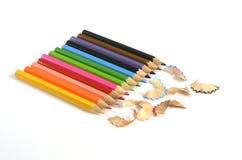 Crayons de couleur d'isolement sur le fond blanc Image stock