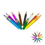 Crayons de couleur D'isolement sur le fond blanc Vecteur coloré Images libres de droits