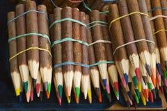 Crayons de couleur de cire Images libres de droits