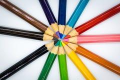 Crayons de couleur dessus avec le fond Utilisation d'image pour l'idée, concept d'art photographie stock