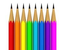 Crayons de couleur sur le fond blanc Images libres de droits