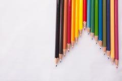 Crayons de couleur sur le fond blanc Photos libres de droits