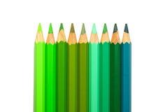 Crayons de couleur verte Photographie stock libre de droits