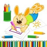 Crayons de dessin de lapin Photographie stock libre de droits