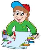 crayons de garçon Photo libre de droits