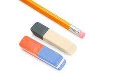 crayons de gomme à effacer Photographie stock libre de droits