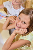 Crayons de peinture de filles Photo libre de droits