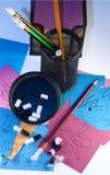 Crayons de séance de réflexion Image libre de droits