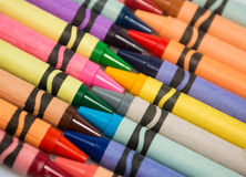 Crayons in diagonal arrangement Royalty Free Stock Photo