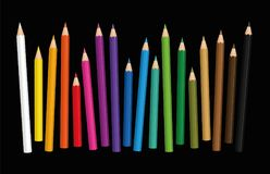 Crayons Different Lengths Loosely Arranged Black Background Royalty Free Stock Photography