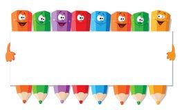 Crayons drôles avec le papier Photographie stock libre de droits