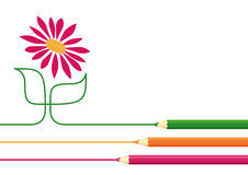 Crayons drawing flower Stock Photo