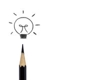 Crayons drawing light bulb, business idea concept Royalty Free Stock Photography