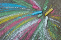 Crayons for drawing on the pavement Stock Images