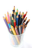 Color pencils in the glass for artist Stock Image