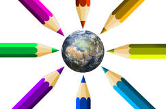 Crayons and the Earth Stock Image