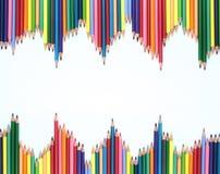 crayons en bois d'une couleur d'ensemble Images libres de droits