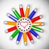 Crayons en cercle Photo stock