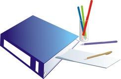 crayons en verre de dépliant de cahier Photographie stock libre de droits