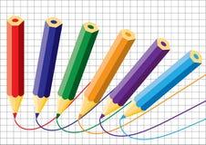 Crayons et cahier. Vecteur. Image libre de droits