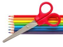 Crayons et ciseaux Image stock