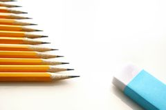 Crayons et gomme à effacer Images stock