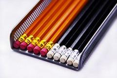 Crayons et gommes à effacer Photos stock