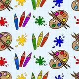 Crayons et palettes Photographie stock libre de droits