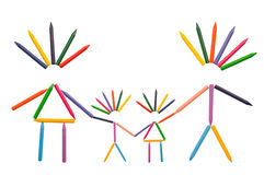 Crayons Family on White Royalty Free Stock Image