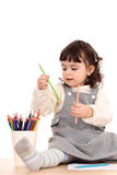 crayons flickan royaltyfria bilder