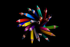 Crayons. Flower which is made from crayons Royalty Free Stock Photo