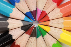 Crayons forming a circle Stock Images