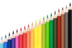 Crayons forming a rising diagramm Royalty Free Stock Photo