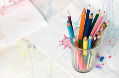 Crayons in a glass Royalty Free Stock Images