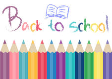 Crayons with hand drawn 'BACK TO SCHOOL' Stock Photography