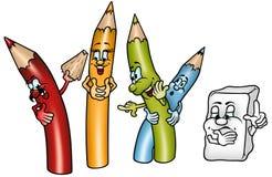 Crayons heureux Photographie stock libre de droits
