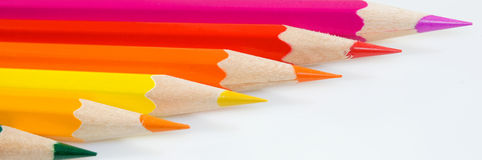 Crayons horizontally. Stock Images