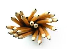 Crayons jaunes, vue supérieure Photographie stock libre de droits