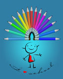Crayons and kids drawing. Royalty Free Stock Images