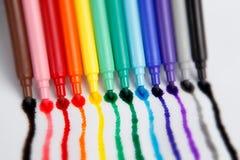Crayons lecteurs d'arc-en-ciel Images libres de droits