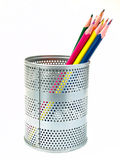 Crayons lecteurs dans le support de crayon lecteur Photos libres de droits