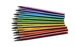 Crayons lecteurs multicolores sur le fond blanc Image libre de droits